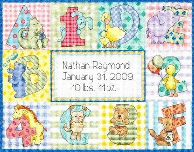 Dimensions Counted Cross Stitch Kit Baby ZOO ALPHABET BIRTH RECORD