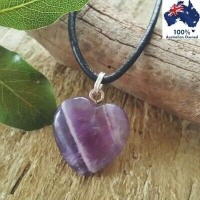 AMETHYST Heart Crystal Healing Gemstone Protection Quartz Stone Pendant Necklace