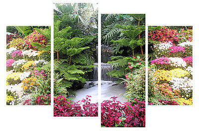 X LARGE FLORAL WATERFALL CANVAS WALL ART SPLIT MULTI 4 PANEL 5 FEET rdytohang