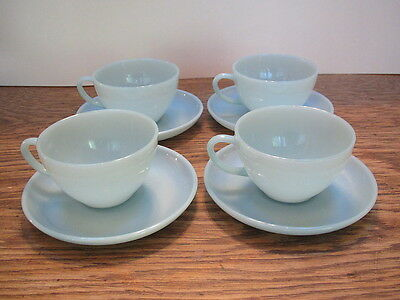 Vintage Fire King turquoise 4-cup & saucer sets- ex cond