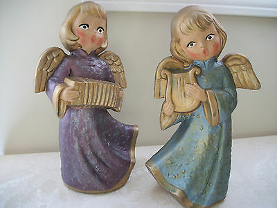 2 Vintage Hand-Painted Porcelain Statue Musical Holiday Angels Set