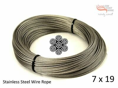"""20M Wire Rope Stainless Steel 3.2mm 7x19 G316 Marine 1/8"""" for Balustrade"""