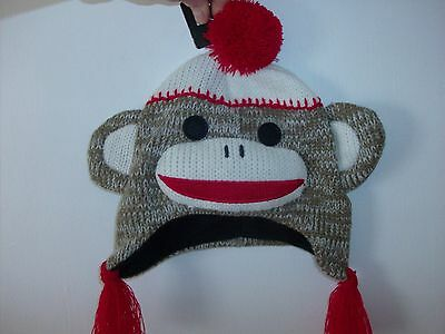 MAXX The Sock Monkey Toddler Hat Size 2 to 4  Soft Fleece Lining - Brand New