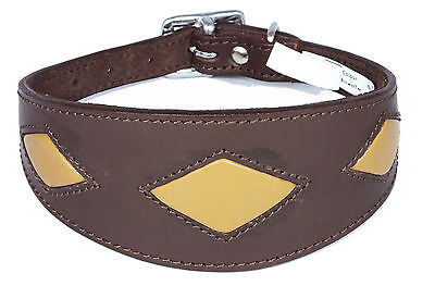 Greyhound Collar Whippet Dog Collar Brown Tan Leather Diamond Shape Soft Padded