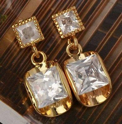 9K Gold Filled Dangle Stud Earrings Cubic Zirconia + Golden Jewelry Gift Bag