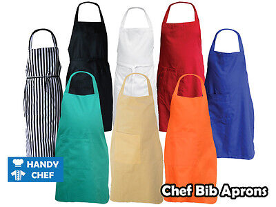 Chef Bib Aprons with Pocket *High Quality Fabric*  - 5 Value Pack - Free postage