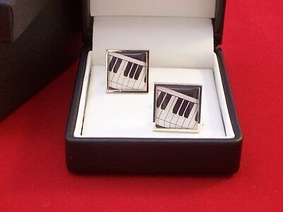High Quality SILVER-PLATED Piano Keyboard CUFFLINKS Music Gift Musician BOXED