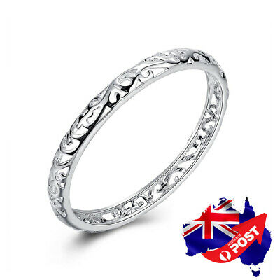 Stunning 925 Sterling Silver Filled 7MM Lovely Hollow Filigree Bracelet Bangle