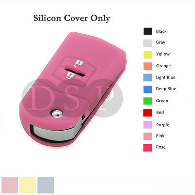 Silicone Cover Holder fit for MAZDA 3 5 6 Flip Remote Key 4 Button Hollowed GY