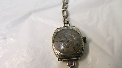 Vintage Hallmark 15 Jewels Ladies Wrist Watch ~ 18K  Filled White Gold Case