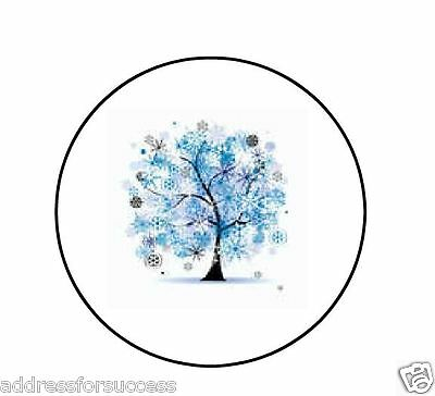 "Winter Snowflakes Tree Personalized 1"" Round Envelope Seals Labels"