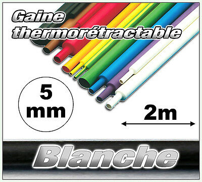 GW05-2# gaine thermorétractable blanche 5mm 2m ratio 2/1  gaine thermo