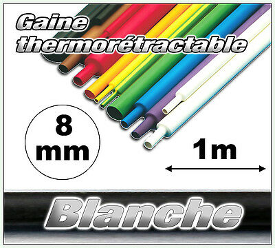 GW08-1# gaine thermorétractable blanche 8mm 1m ratio 2/1  gaine thermo