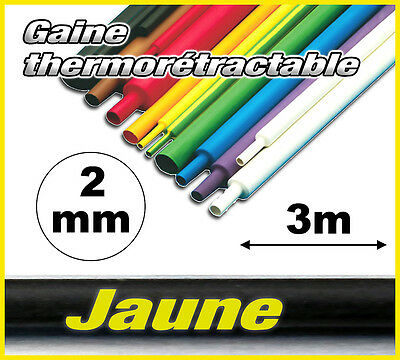 GJ2-3# gaine thermorétractable Jaune 2mm 3m ratio 2/1  gaine thermo