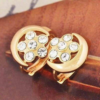Authentic 9K Gold Filled Star & Moon CZ Hoop Earrings - 12mm + Golden Gift Bag