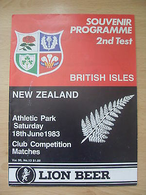 New Zealand v British Lions 1983 2nd Test Signed Rugby Programme