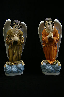 Pair of Kneeling Praying Angels Statue Sculpture Catholic Religious Made Italy