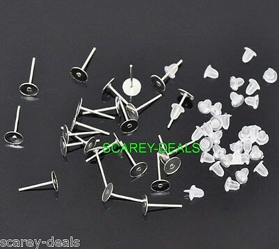 100x 4mm silver plated FLAT PAD 4 mm STUDS sp earring posts &100 free backs 4 mm