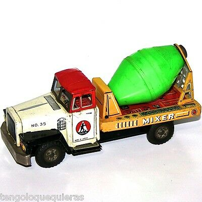 friction Tin Toy concrete mixer TRUCK Nº 35 made in japan euclid camion hojalata