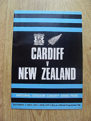 Cardiff v New Zealand 1972 Rugby Programme