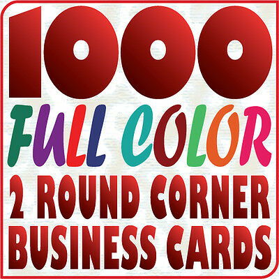 1000 Full Color 2 Round Corners BUSINESS CARD Printing on 16pt Gloss or Matte