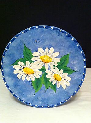 Vintage Blue Tole Hand Painted Round Hat Box with 3 White Daisy