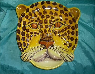 Beautiful Vintage Collectible Sculpted Cheetah Shaped Plate Wall Art Made Italy