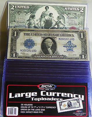 "15 - BCW ""RIGID Large Size"" Currency Topload Note Bill Crystal Clear Holder"