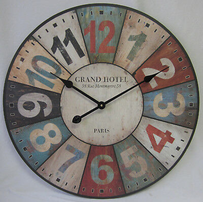 60cm New Rustic French Provincial Country Wall Clock Grand Hotel Paris Coloured