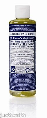 Dr. Bronner's Peppermint Organic Liquid Soap 237ml | Bronners, Pure Castile
