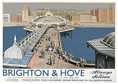 Vintage Brighton And Hove Railway A4 Poster Print