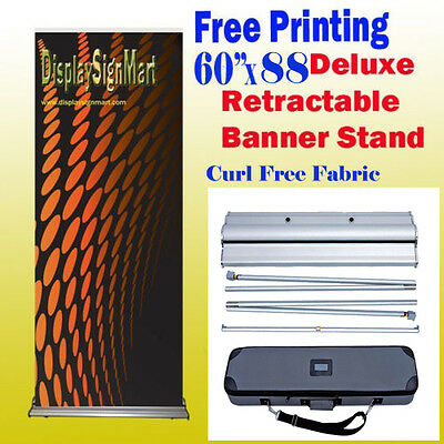 "60"" x 88"" Retractable Free FabricGraphic Printing Roll Up Banner Stand W/ Case"
