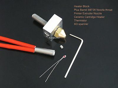 Heater Block+Nozzle throat+Extruder Nozzle+Heater+Thermistor 3D Printer DIY Kit