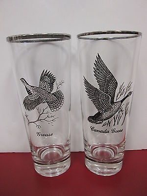 Vintage - 1 Canadian Goose Glass & 1 Grouse Glass - Set Of 2 Tall Glasses