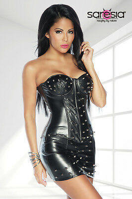 Sexy Wetlook Set Corsage Rock Leder Optik Minirock Korsage Korsett S-XL schwarz