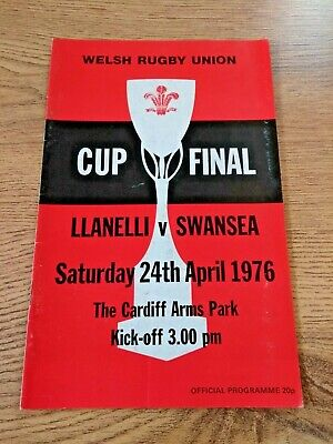 Llanelli v Swansea 1976 Welsh Cup Final Rugby Programme