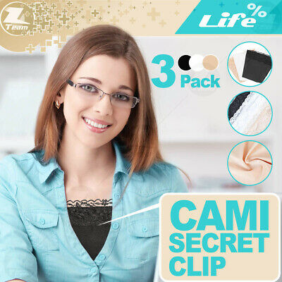 Cami Secret Clip on Camisoles Custom Cleavage Control Lace Set Panels 3 Pack