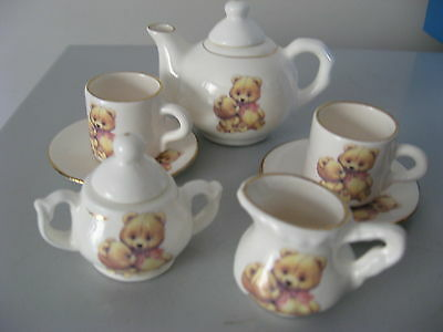 Miniature Teddy Bear Teaset Cake Topper Limited Production Made In Australia