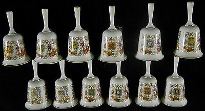 Set of 12 Romance of Camelot Fine Bone China Bells w/ 24K Gold Trim 1980