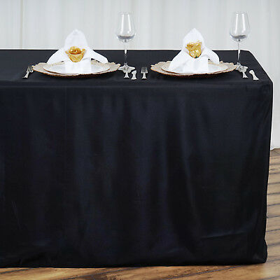 12 pcs FITTED 8 feet POLYESTER TABLE COVERS Tablecloths Wholesale Party Linens