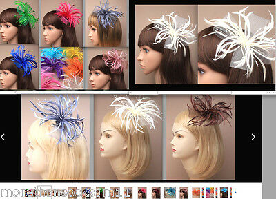 Wedding Fascinator Looped Net Bow Feather & Pearl Beak Clip & Pin Corsage 2 In 1
