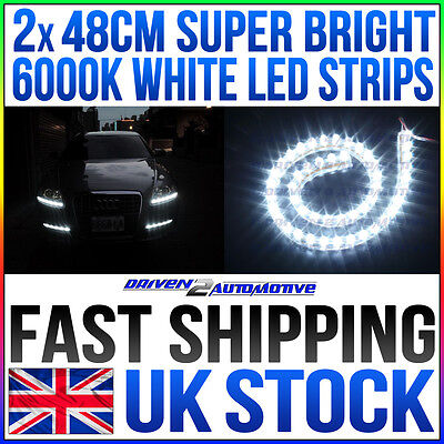 2x48CM DAYTIME RUNNING LIGHT LED STRIP ULTRA BRIGHT WHITE 6000K XENON STYLE