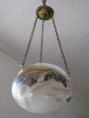 Hand Painted Dome Shade With Landscape Scene 5756