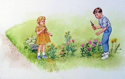 Original Illustration Young Dick and Jane Book. page 14 & 15