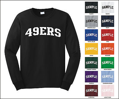 49ers Forty Niners College Letter Team Name Long Sleeve Jersey T-shirt