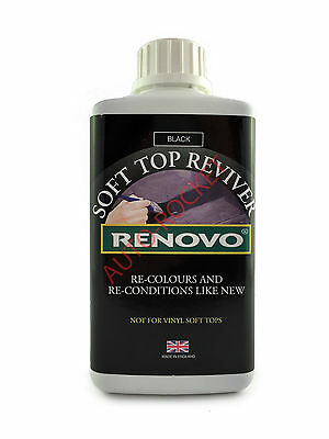 Renovo BLACK Soft Top Reviver, 500ml Dyes Soft Top Convertible Canvas Car Roofs