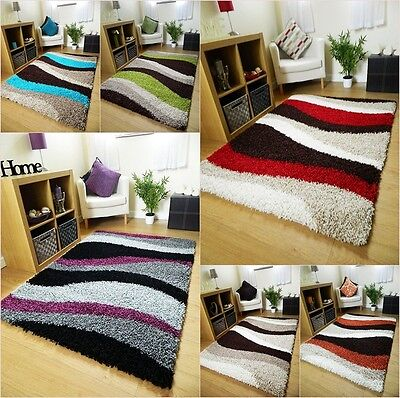 New Thick Non Shed Shaggy Rugs Large Soft Mats Green Red Brown Black Grey Purple