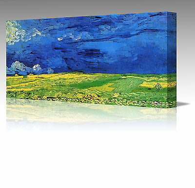 "Vincent Van Gogh Wheatfield Under A Blue Sky 16"" Framed Canvas Wall Art Picture"