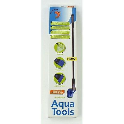 Superfish Aqua Tools 4 In 1 Aquarium Fish Net Gravel Rake Algae Scraper Sponge