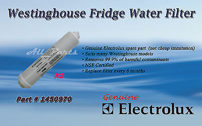 2 x ELECTROLUX WESTINGHOUSE WATER FILTER  FRIDGE PART 1450970 X 2 QTY